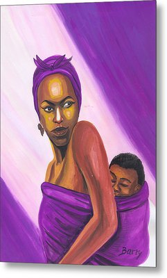 Metal Print featuring the painting Senegalese Woman by Emmanuel Baliyanga