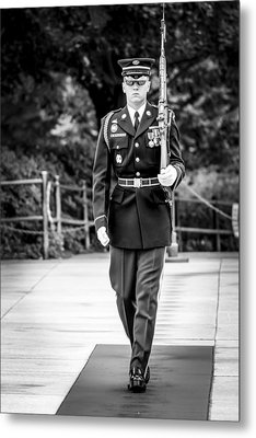 Metal Print featuring the photograph Sentinel At The Tomb Of The Unknowns by David Morefield