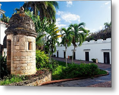 Sentry Post In The Courtyard Metal Print by George Oze