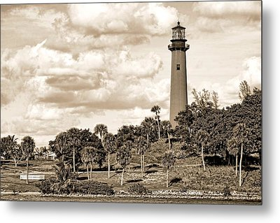 Sepia Lighthouse Metal Print by Rudy Umans