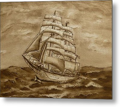 Metal Print featuring the painting Sepia Oceans Fury by Kelly Mills