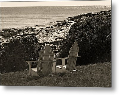Sepia Seaside Retreat Metal Print by Lone Dakota Photography