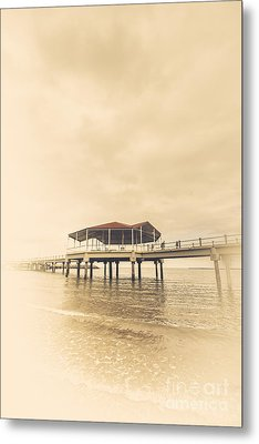 Sepia Toned Image Of A Vintage Marine Pier Metal Print by Jorgo Photography - Wall Art Gallery