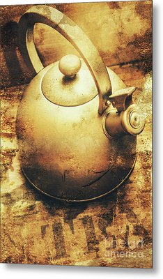 Sepia Toned Old Vintage Domed Kettle Metal Print