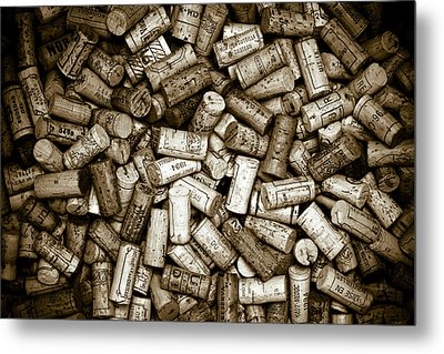 Sepia Wine Corks Metal Print by Frank Tschakert