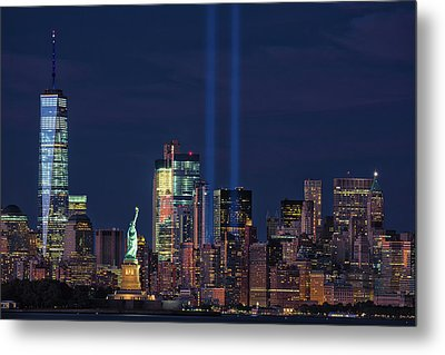 Metal Print featuring the photograph September 11tribute In Light by Emmanuel Panagiotakis