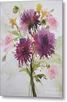 September Dahlias Metal Print