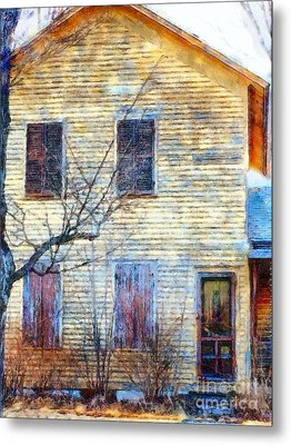 Metal Print featuring the photograph September's Gone - Yellow Farmhouse Windows by Janine Riley