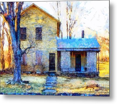 Metal Print featuring the photograph September's Song - Yellow Farmhouse  by Janine Riley