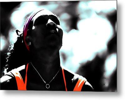 Serena Williams Deep Breath Metal Print