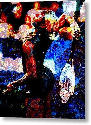 Serena Williams In The Paint Metal Print