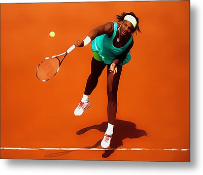 Serena Williams Match Point 2c Metal Print by Brian Reaves