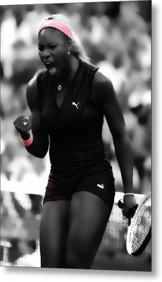 Serena Williams On Fire Metal Print