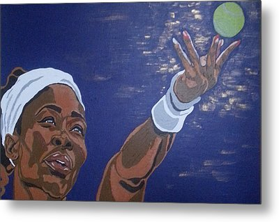 Metal Print featuring the painting Serena Williams by Rachel Natalie Rawlins