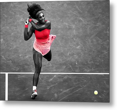 Serena Williams Strong Return Metal Print