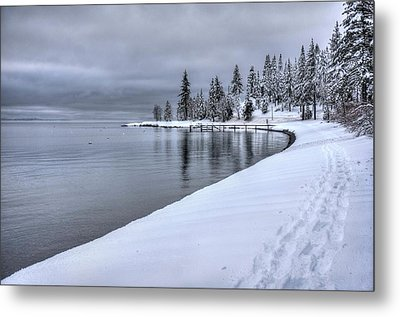 Metal Print featuring the photograph Serene Beauty Of Lake Tahoe Winter by Peter Thoeny