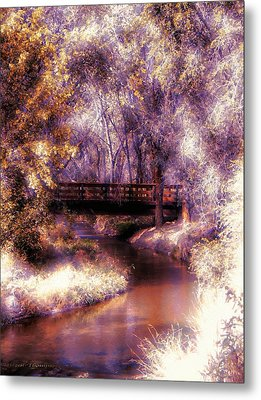 Serene River Bridge Metal Print