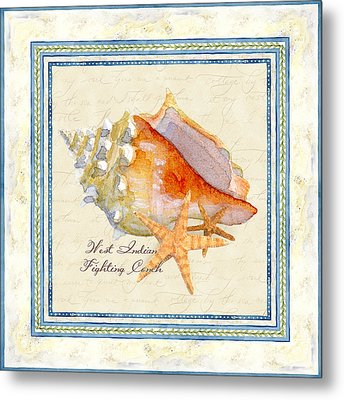 Serene Shores - West Indies Fighting Conch N Starfish Metal Print by Audrey Jeanne Roberts