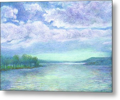 Metal Print featuring the painting Serenity Blue Lake by Judith Cheng