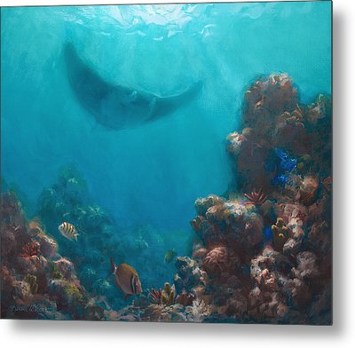Serenity - Hawaiian Underwater Reef And Manta Ray Metal Print by Karen Whitworth