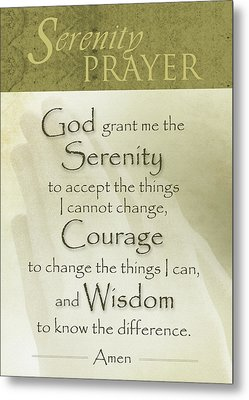 Serenity Prayer With Praying Hands Metal Print