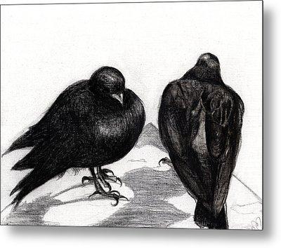 Serious Pigeon Situation Metal Print