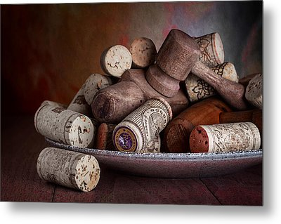 Served - Wine Taps And Corks Metal Print by Tom Mc Nemar