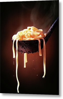 Serving Cooked Fettuccine Steaming Hot Metal Print