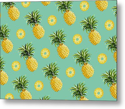 Set Of Pineapples Metal Print by Vitor Costa