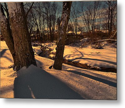 Setting Sun On A Winters Day Metal Print by Mikki Cucuzzo