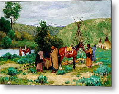 Setting Up Camp - Little Big Horn Metal Print by Pg Reproductions