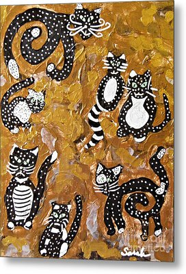 Seven Black And White Cats Metal Print