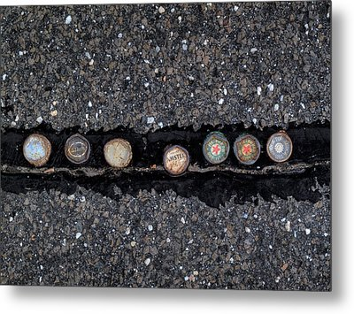 Seven Bottle Caps Metal Print