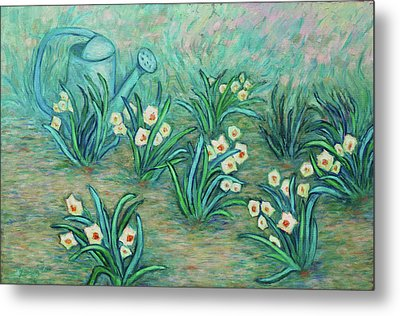 Metal Print featuring the painting Seven Daffodils by Xueling Zou