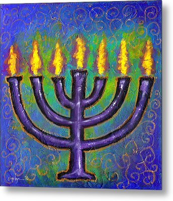 Metal Print featuring the painting Seven Flames by Angela Treat Lyon