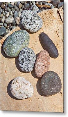 Seven Stones On A Log Metal Print