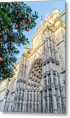 Seville - The Cathedral And Some Oranges Metal Print by Andrea Mazzocchetti