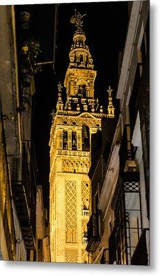 Seville - The Giralda At Night  Metal Print by Andrea Mazzocchetti