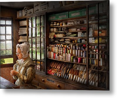 Sewing - Minding The Store  Metal Print