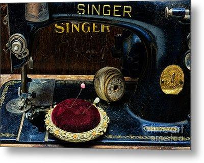 Sewing - Victorian Pin Cushion - Singer Sewing Machine Metal Print