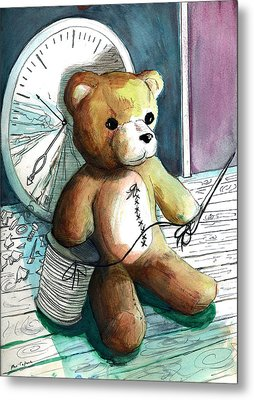 Sewn Up Teddy Bear Metal Print