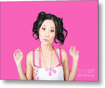 Cute Asian Pinup Woman With Surprised Expression Metal Print