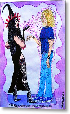 Metal Print featuring the painting Sexy Witch Puting A Spell On A Boy by Don Pedro De Gracia