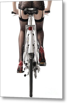 Sexy Woman Riding A Bike Metal Print