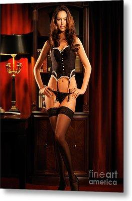 Sexy Young Woman In Black Lingerie Metal Print by Oleksiy Maksymenko