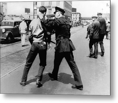 Sf Striker Arrested Metal Print by Underwood Archives