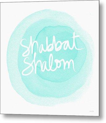 Shabbat Shalom Sky Blue Drop- Art By Linda Woods Metal Print