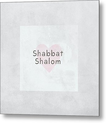 Shabbat Shalom Soft Heart- Art By Linda Woods Metal Print