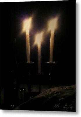 Shabbos Candles Metal Print by Miriam Shaw