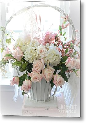 Shabby Chic Basket Of White Hydrangeas - Pink Roses - Dreamy Shabby Chic Floral Basket Of Roses Metal Print by Kathy Fornal